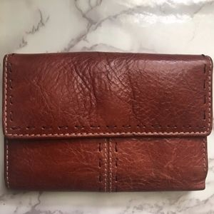 Fossil Trifold Brown Stitched Wallet